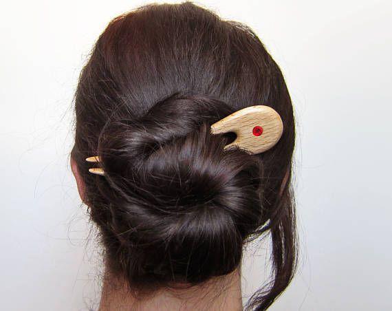 Wooden Hair Fork hairfork wood 2 prong swarovski crystal