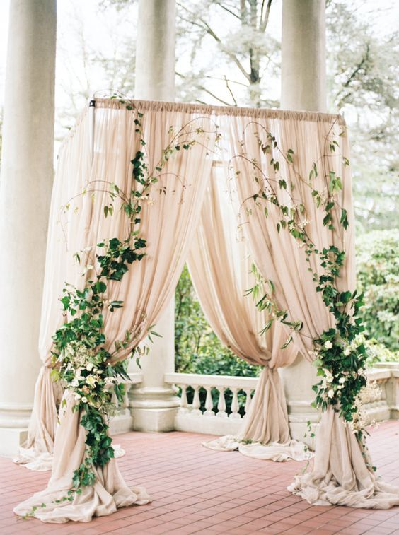 raped Blush Ceremony Arbor with Ivy / http://www.himisspuff.com/wedding-arches-wedding-canopies/7/