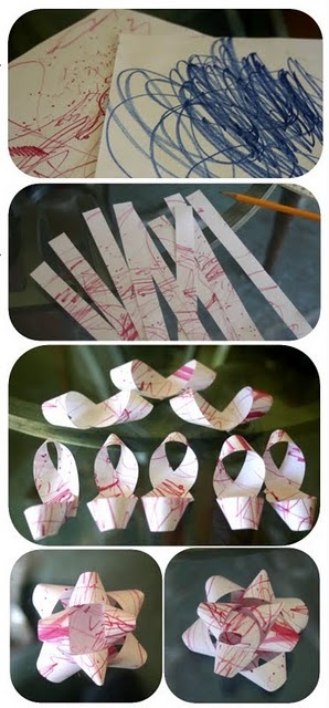 turn toddler scribbles into gift bows!