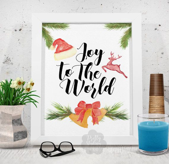 Joy To The World Colorful Print Watercolor by PrettyStylingArt