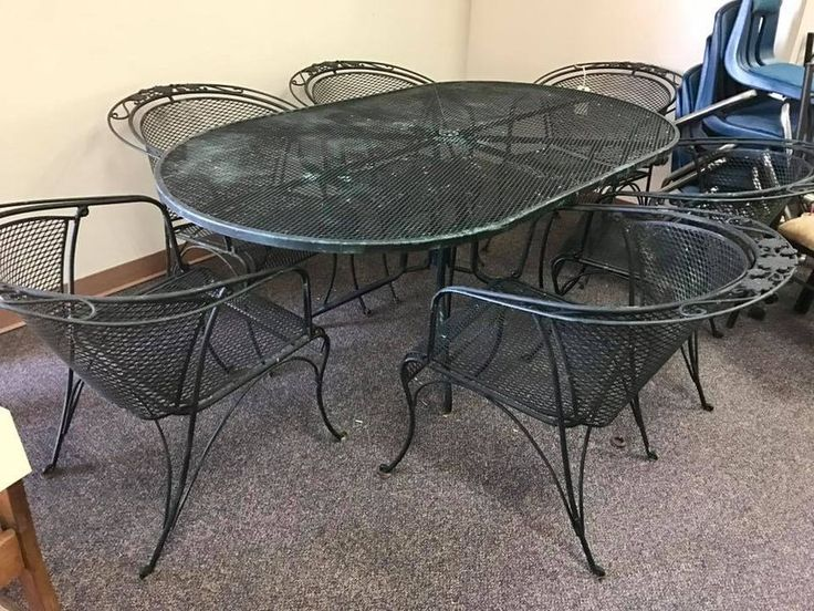 "Black wrought iron patio table with six chairs. Only $235! <br> <br>72"" x 42"" x 28""H <br> <br>This item is located at:   <br><b>Yesterday's Galleria  <br>2770 Piney Green Road  <br>Midway Park, NC  <br>(By the Railroad Tracks)   <br>(910)238-2542 </b>  <br> <br>Monday-Saturday 10a-7p <br>Sunday 11a-6p <br>  <br>Check out our other items!   <br>Not all of our items are listed, so be sure to stop in! <br>We also have home decor, electronics, military surplus, video games and systems, antiques…"