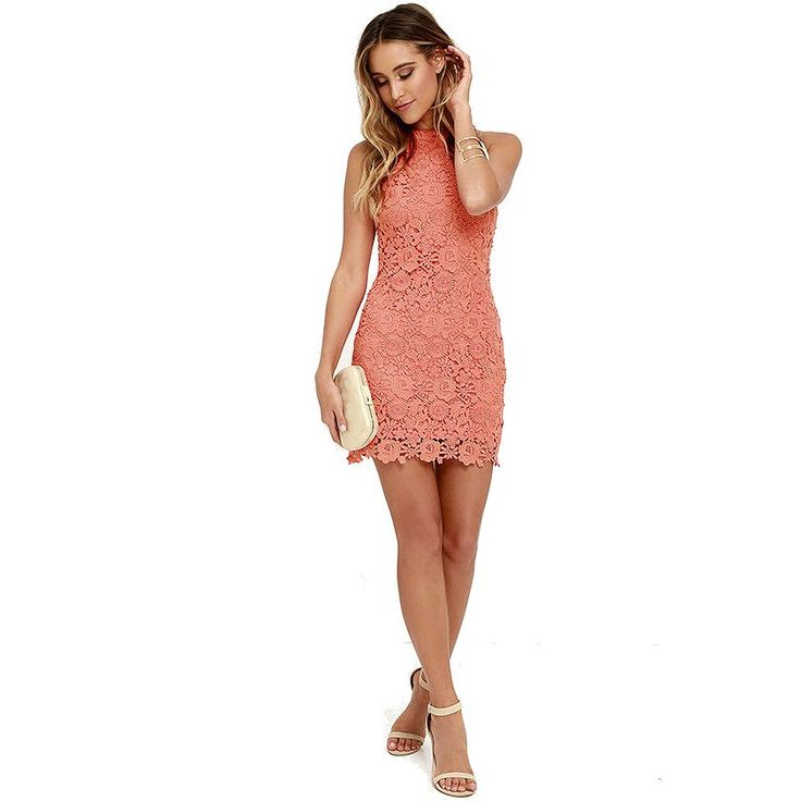 Live in Color Short Lace Dress Coral
