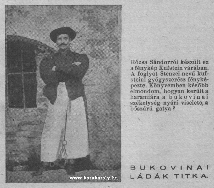 Rózsa Sándor, Kufstein várában