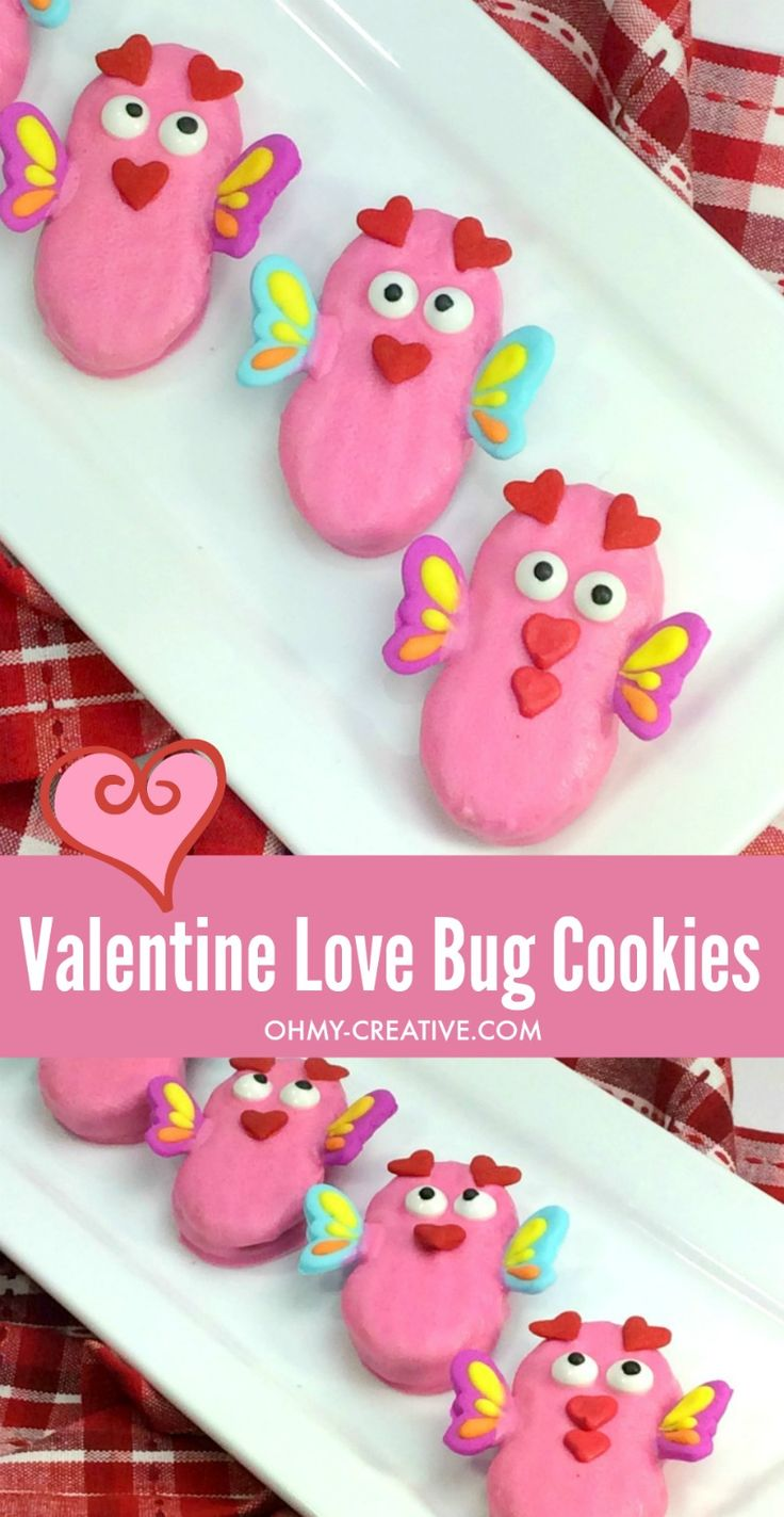 Love Bug Cookies   OHMY-CREATIVE.COM   Valentine's Day Cookies   Cookies for Valentine's Day   Valentine Treats   Valentine Cookie Recipe   Valentine Cookies   Nutter Butter Cookies