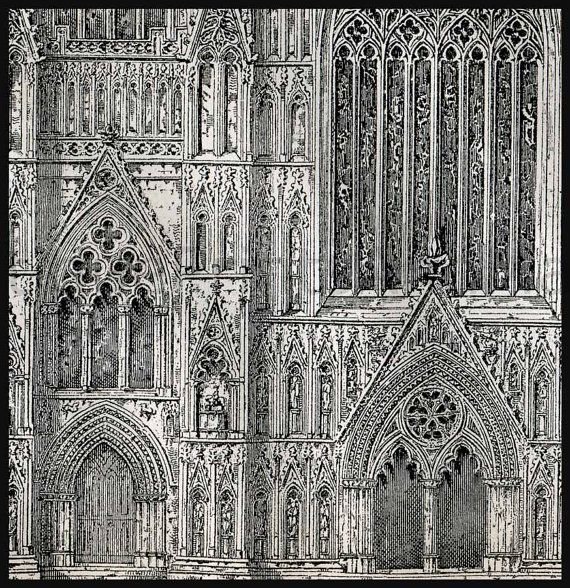 Architectural Drawings York Minster England And Piazza Del Duomo
