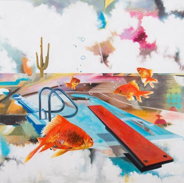 """Robert Hilmersson - """"Blow bubbles they said"""" finns att köpa hos oss på Galleri Melefors / is available for purchase at Galleri Melefors #roberthilmersson #robert #hilmersson #art #konst #oil #painting #forsale #fish #bubbles #pool #summer #cactus #fun #humour #konst #tavla #dekoration #olja #målning #oljemålning #sommar #fiskar #ubblor #kaktus #rolig #humor #gallerimelefors #melefors"""
