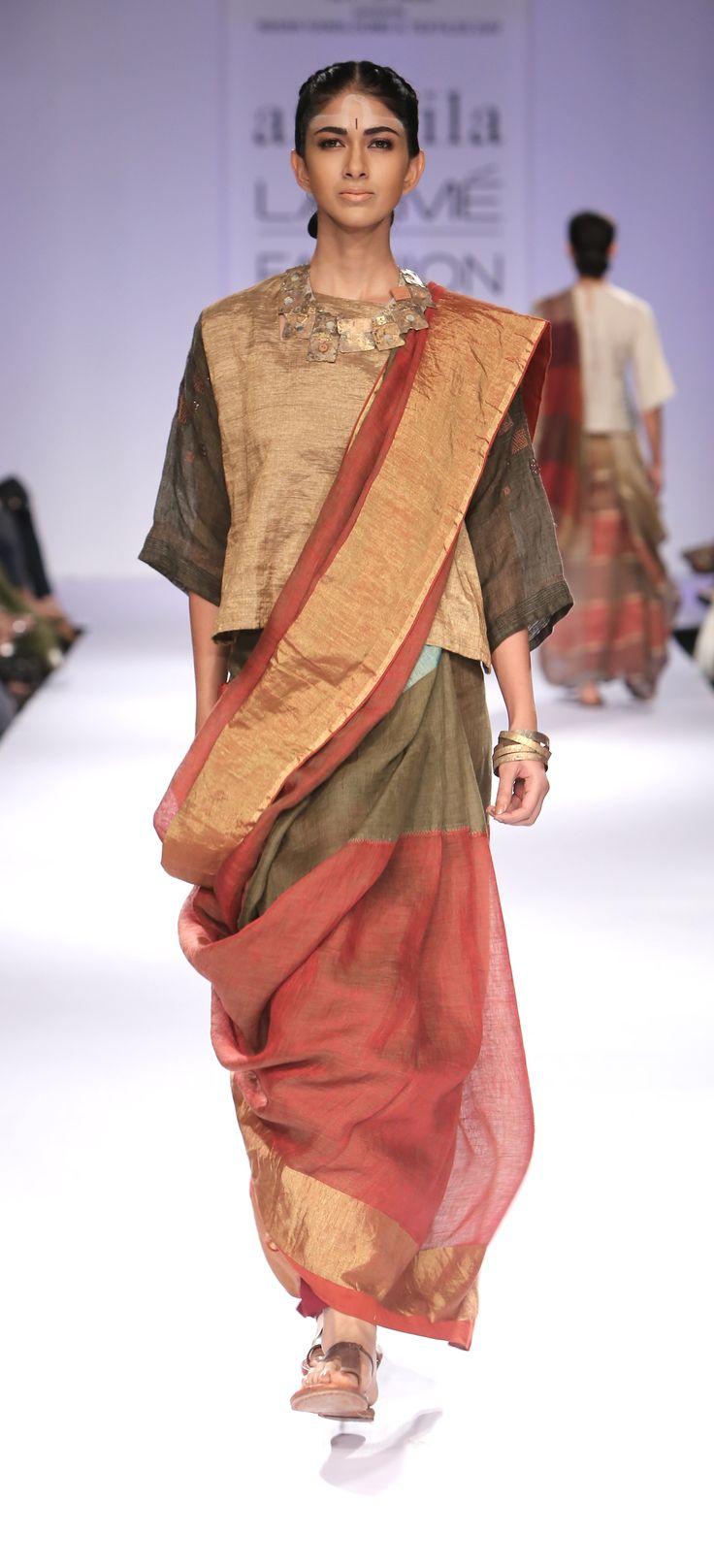 madder moss festive linen sari
