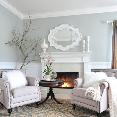 """Light Gray Wall Design. """"White + light grey = romantic."""" wall color Tranquility by Ben Moore."""