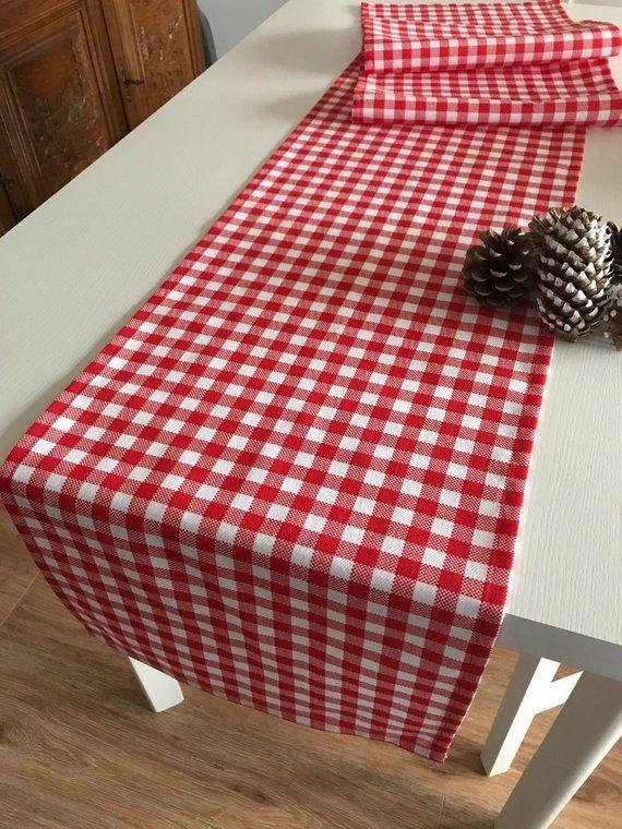 Christmas Table Runner Red Check Table Runner Christmas Decor