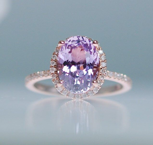 Purple sapphire engagement ring. Rose gold ring. 14k engagement ring 1.5ct oval …