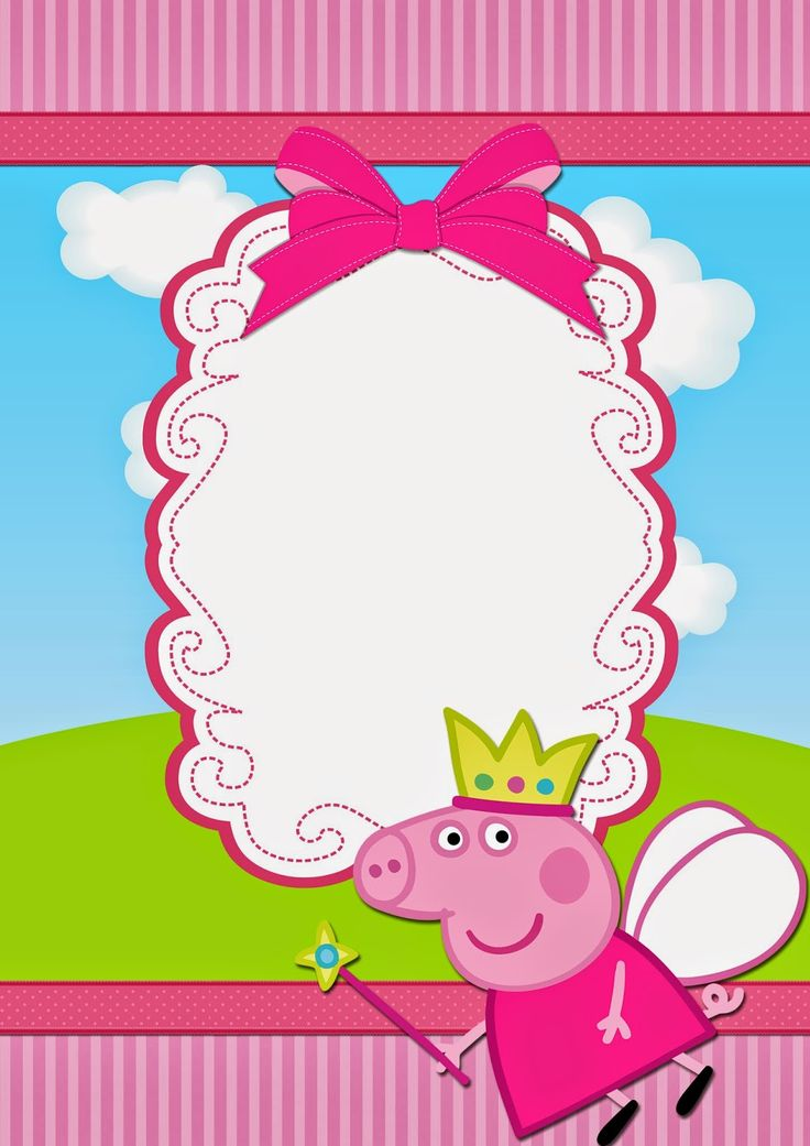 Free Printable Peppa Pig Amazing Invitation Template Design By