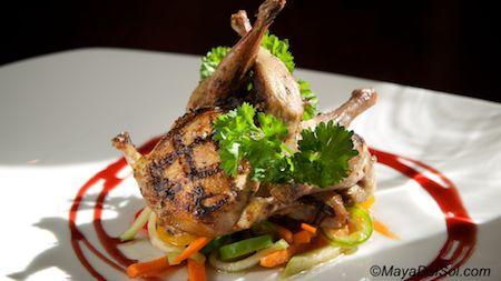 codorniz a la parilla | grilled quail, chayote-carrot escabeche, red wine gastrique