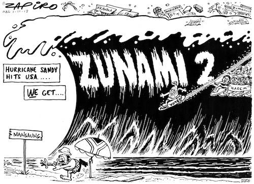 121101mg - While Hurricane Sandy hits the USA, Zunami 2 hits South Africa
