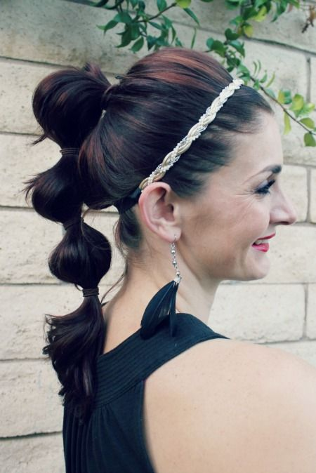 Triple Poof Ponytail. Use multiple ponytails to create length