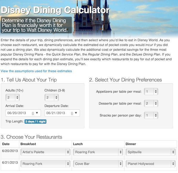 A Disney Dining Plan Calculator -  Can you save money eating at Walt Disney World?  ~~ DISCLAIMER:  We do not buy the Disney Dining Plan ... so I really can't say if this will help you make a good decision about it or not.  But I do know it can be very confusing to determine if the dining plan is right for your family ... and which plan to go with.  But use this at your own discretion and risk!  (And be sure to do your research)!