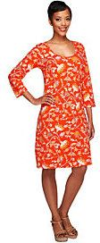 As Is Liz Claiborne New York 3/4 Sleeve Floral Print Knit Dress