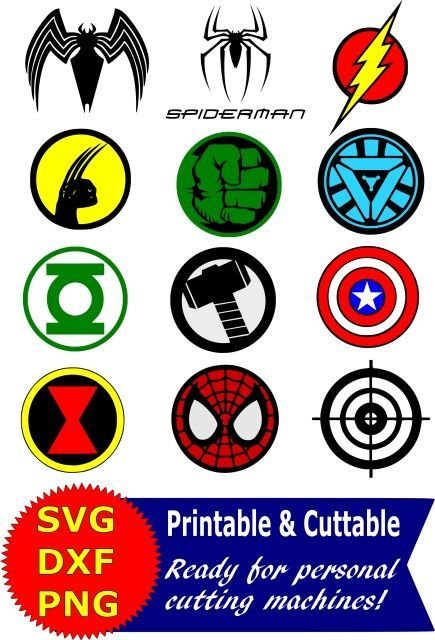 Superhero logo SVG and Clipart bundle for Silhouette Cameo or Cricut Superhero Vector, Clipart, Digital Scrapbooking Download, Available in PNG, DXF and SVG. Works with Cricut, Design Space, Sure Cuts A Lot, Make the Cut!, Inkscape, CorelDraw, Adobe Illustrator, Silhouette Cameo, Brother ScanNCut and other compatible software. Spiderman, Captain America, Hulk, Wolverine, Green Lantern, Ironman, Flash, Black Widow