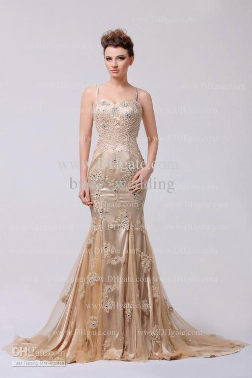 Wholesale Evening Dresses - Buy Champagne Evening Dress Spaghetti Beaded Swarovski Crystals Lace Tulle Ruffle Celebrity Dress Court, $165.2 | DHgate
