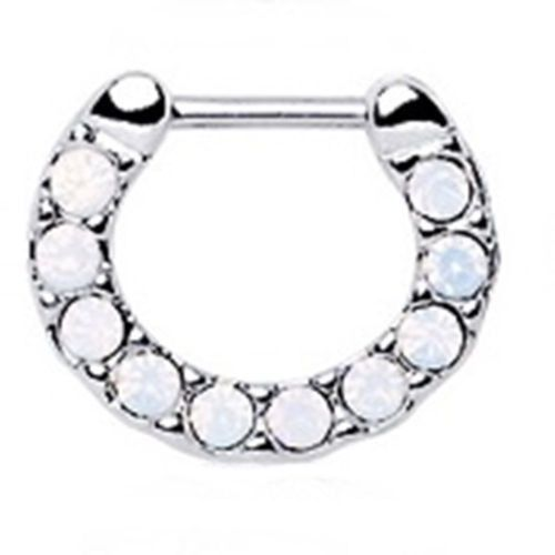 "Septum Nose Clicker Covered in Opalite White Gems 16 Gauge 5/16"" Steel Body Jew"