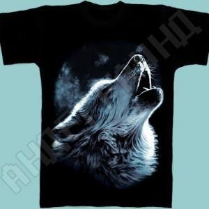 Воющий волк футболка