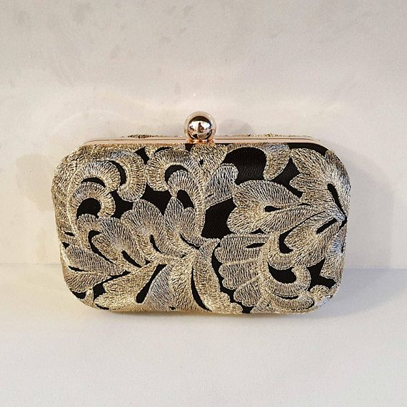 Black & Gold Embroidered Clutch Bag Evening Bags