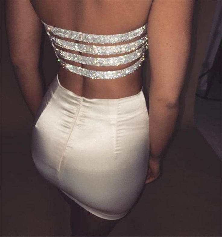Perfectly Stripped Rhinestone Two-Piece Party Dress