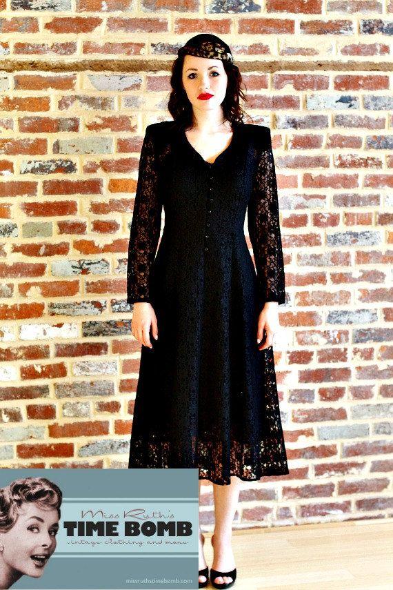Vintage 1980s Black Lace Victorian Dress