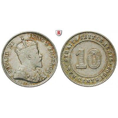 Straits Settlements, Edward VII., 10 Cents 1902, ss-vz: Edward VII. 1901-1910. 10 Cents 1902. KM 21; sehr schön - vorzüglich 30,00€ #coins