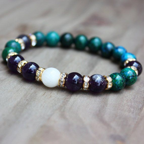 Gemstone Bracelet - Chrysocolla, Amethyst and Moonstone - Size: About 7.75 inches - 8mm gemstone beads - Latex-free elastic cord...