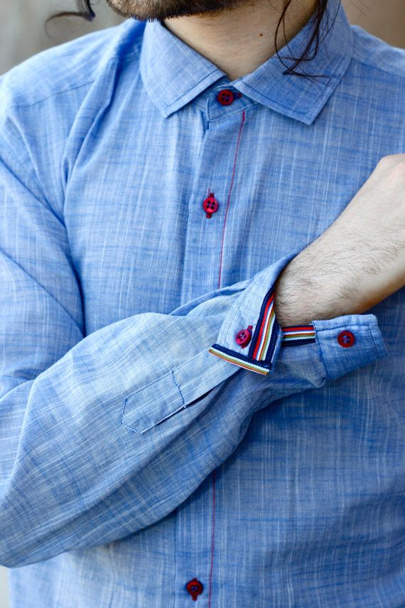 Gauzy Fabric Man Shirt NAVY by HiLoSoFia on Etsy