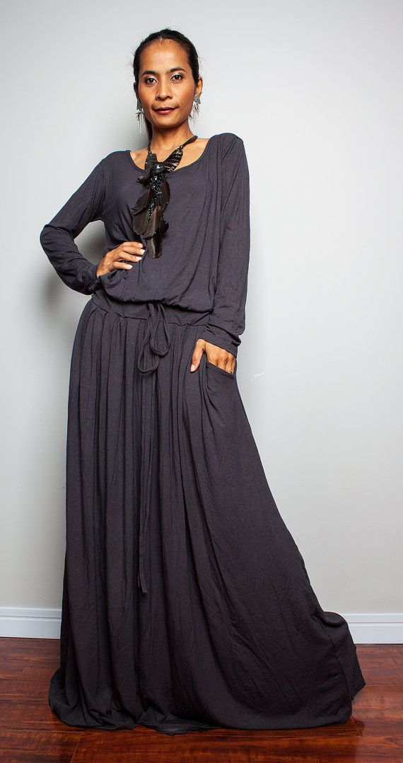 PLUS SIZE Maxi Dress -  Long Sleeve Navy Grey dress : Autumn Thrills Collection No.1  (Best Seller)