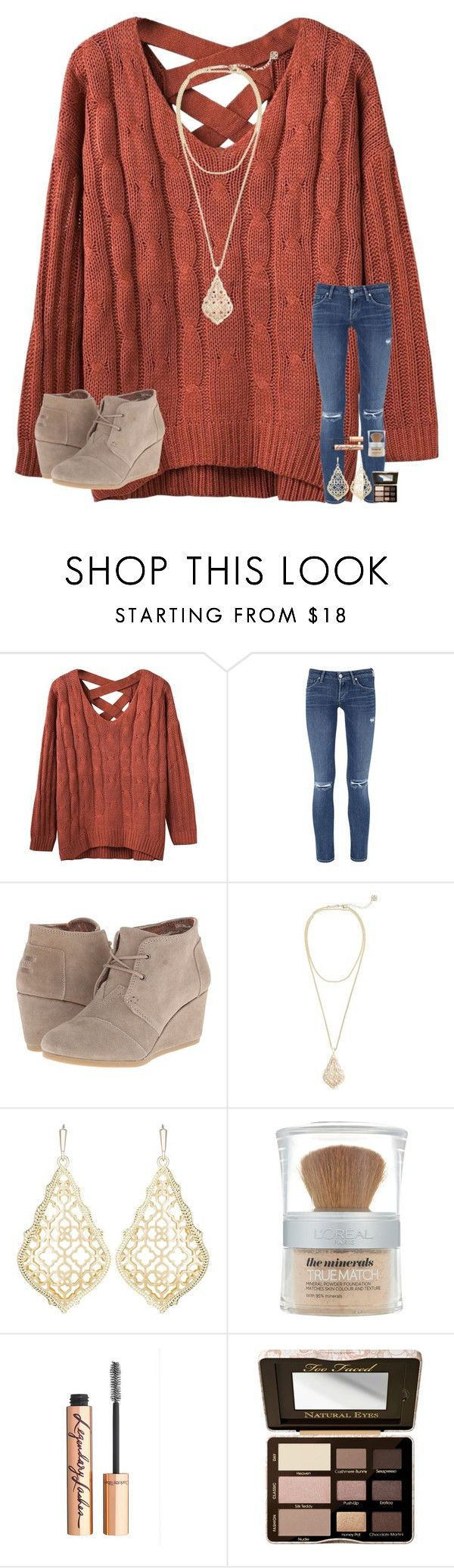 """At the orthodontist "" by mae343 ❤ liked on Polyvore featuring Citizens of Humanity, TOMS, Kendra Scott, L'Oréal Paris, Charlotte Tilbury and Too Faced Cosmetics"