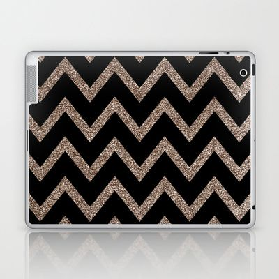 Black and Gold Glitter Chevron Laptop & iPad Skin by Dani - $25.00