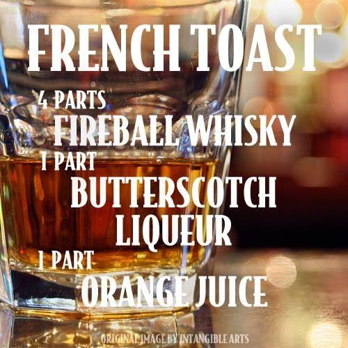 "French Toast Drink recipe @FireballWhisky #fireball #recipes www.LiquorList.com ""The Marketplace for Adults with Taste"""