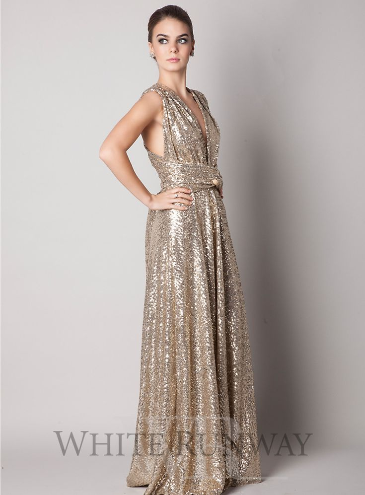 Sequin Ballgown Multiway Dress. The perfect convertible dress by Goddess by Nature - one style can be worn in over 10 ways.  Material is a stretchy, sequin. Available in Black, Red Wine, Dark Platinum, Platinum Silver and Light Champagne. Made in Australia.