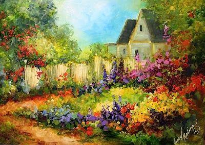 Tranquility Cottage Garden by Texas Flower Artist Nancy Medina, painting by artist Nancy Medina