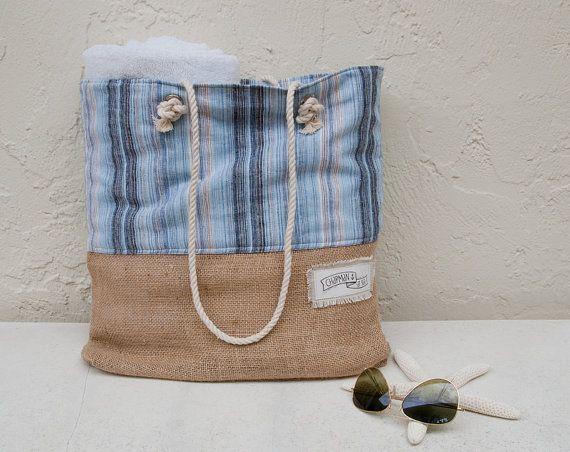 Blue Stripe Beach Bag Linen Burlap Tote