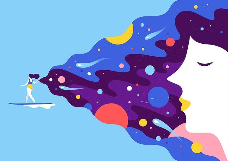 Simple Illustration, Illustration Inspiration, Flat Design Illustration, Character Illustration, Digital Illustration, Graphic Illustration, Theme Galaxy, Motion Design, Meditation