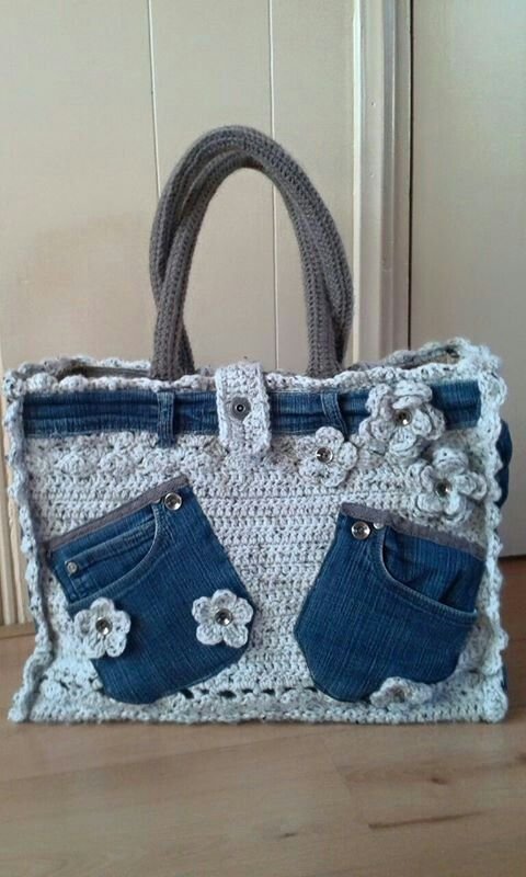 Fusion crochet: Really cute crocheted handbag, embellished with sections of old denim jeans ...