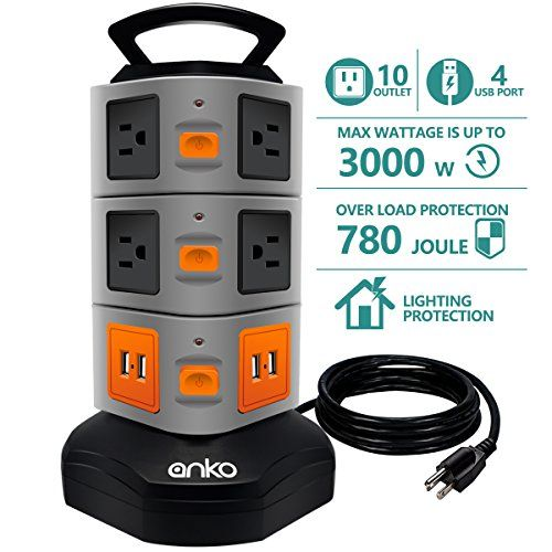 Power Strip Tower, ANKO 3000W 13A 16AWG Surge Protector Electric Charging Station, 10 Outlet Plugs with 4 USB Slot 6ft Cord Wire Extension Universal Charging Station (1-PACK). MULTIPLE SOCKET & USB CONNECTOR:The tower vertical surge defender electrical extension all outlets and ports are disseminated vertically, best offer