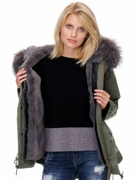 Damen #Winterparka mit #Fell Farbe: Khaki (olive) #rosa #grau #olive #internetmode #modex Form: Kurz - Bild vergrößern