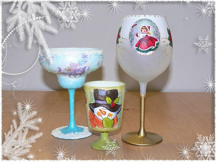 Candele din sticla, cu Decoupage si Tehnica servetelului pe sticla, decorate la Atelierul Deco Craft®. Servetele de Iarna si de Craciun si Anul nou: http://www.decocraft.ro/en/servetele-de-iarna http://www.decocraft.ro/en/servetele-craciun-anul-nou