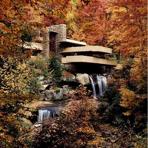 Fallingwater, designed by Frank Lloyd Wright. The stream and waterfall existed before Wright's structure. It is integrated into his design.
