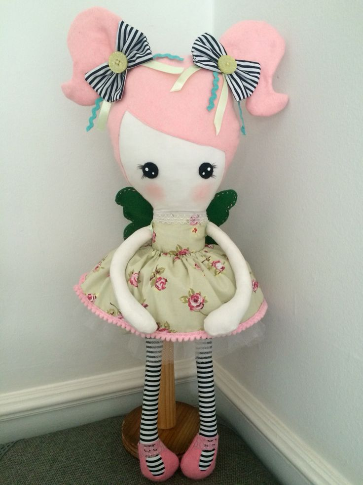 Harper, handmade doll, 55cm/21inch, pig tails, floral fabric, cutie.