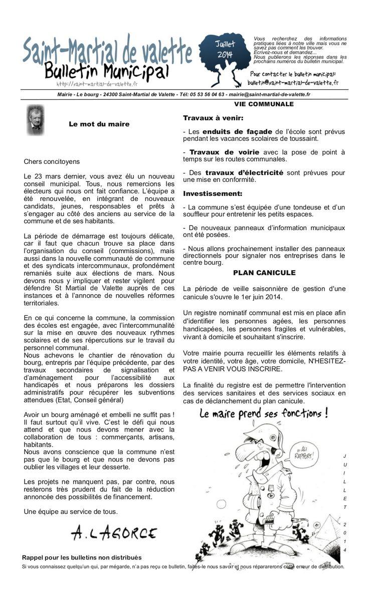 Bulletin municipal de Saint-Martial de Valette - juillet 2014 by Saint-Martial de Valette via slideshare