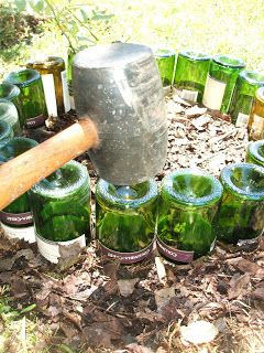 Simple DIY wine bottle border - need rubber mallet....Start drinking, my friends! This will be happening at my new house!