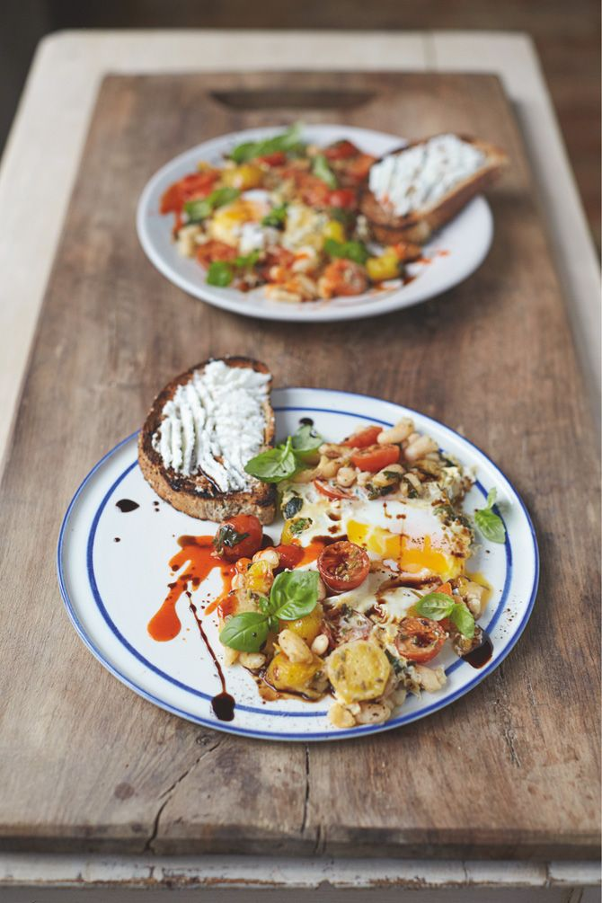 Jamie Oliver's Baked Eggs in Popped Beans and Cherry Tomatoes with Ricotta on Toast