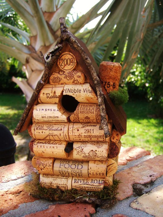 Wine Cork Birdhouse - Home Decor - Home and Living Decor - Handmade Birdhouse - Wine Cork Birdhouse