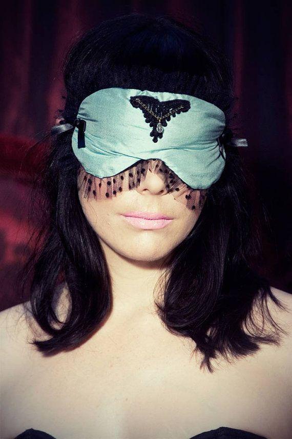 Dupioni silk Sleep mask in teal blue Burlesque by lovemesugar, €40.00