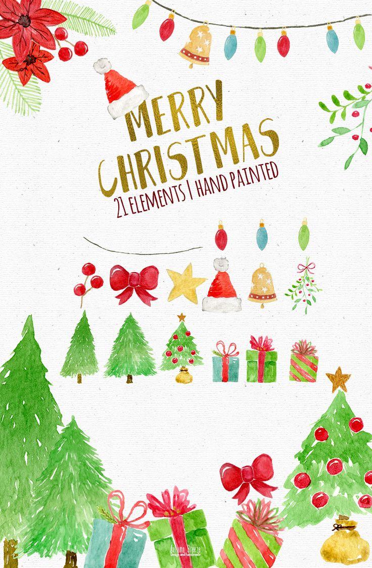 Christmas Watercolor Clipart Christmas Clipart Christmas Clip